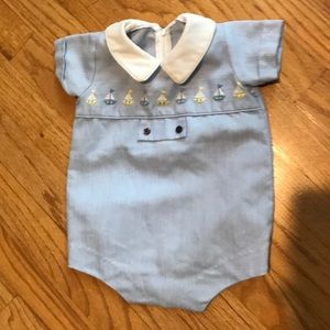 Other - Embroidery sailboat traditional onesie boy bubble
